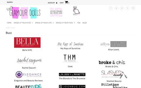 Screenshot of Press Page glamourdollsmakeup.com - Buzz – Glamour Dolls - captured July 14, 2016