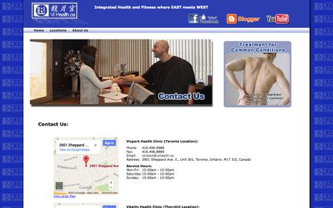 Screenshot of Contact Page Locations Page vihealth.ca - ViHealth Centre: Contact Us - captured Oct. 7, 2014