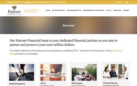Screenshot of Services Page entrustfinancial.com - Financial Services | Entrust Financial | Wayne, Pennsylvania - captured July 20, 2018
