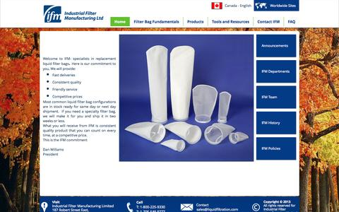 Screenshot of Home Page liquidfiltration.com - Industrial Filter Manufacturing , Liquid Filter Bags, Filtration - captured Oct. 6, 2014