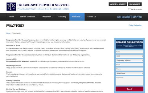 Screenshot of Privacy Page ppsassistant.com - PPS - Progressive Provider Services - captured Nov. 13, 2016