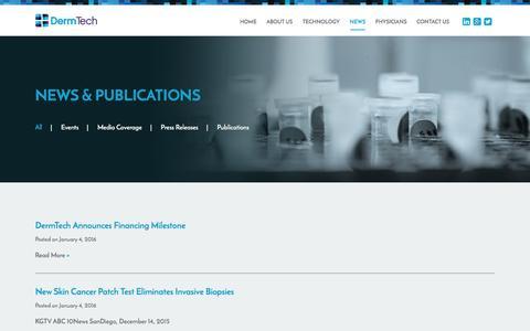 Screenshot of Press Page dermtech.com - News & Publications - DermTech - captured Jan. 7, 2016