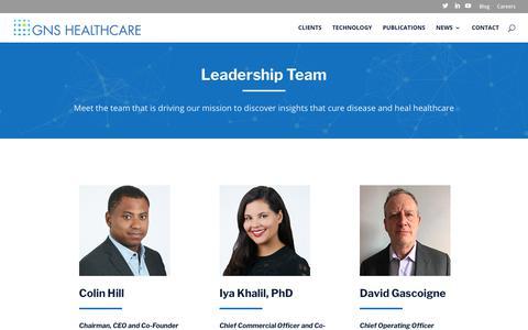 Screenshot of Team Page gnshealthcare.com - Leadership Team at GNS Healthcare - captured Feb. 6, 2020
