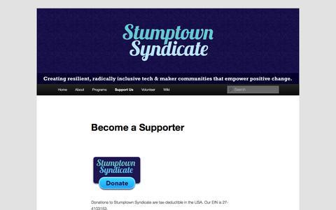 Screenshot of Support Page stumptownsyndicate.org - Become a Supporter | Stumptown Syndicate - captured Nov. 11, 2017