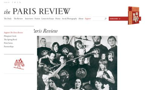 Screenshot of Support Page theparisreview.org - Paris Review - Writers, Quotes, Biography, Interviews, Artists - captured Dec. 5, 2016