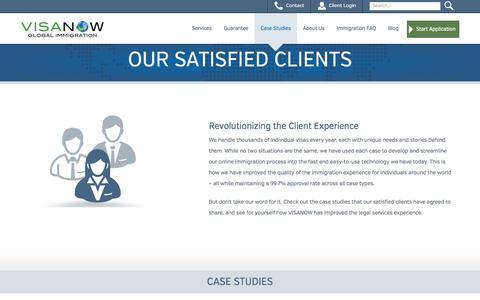Screenshot of Case Studies Page visanow.com - Case Studies - VISANOW Global Immigration - captured Sept. 25, 2014