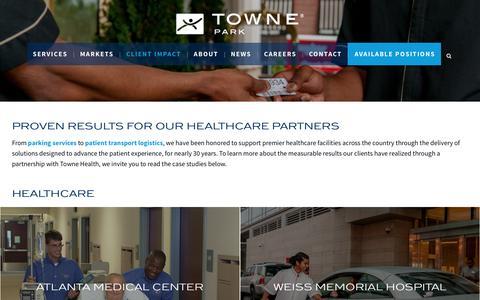 Screenshot of Case Studies Page townepark.com - Healthcare Customer Case Studies | Towne Park - captured Oct. 15, 2016
