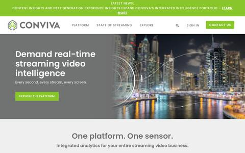 Screenshot of Home Page conviva.com - Integrated Analytics for Your Entire Streaming Video Business | Conviva - captured Sept. 16, 2019