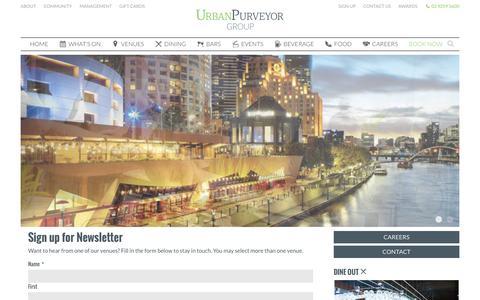 Screenshot of Signup Page urbanpurveyor.com - Sign up for Newsletter - Urban Purveyor Group - captured Feb. 7, 2016