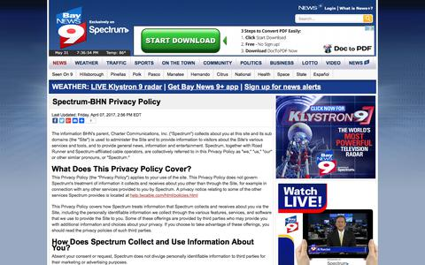 Screenshot of Privacy Page baynews9.com - Spectrum-BHN Privacy Policy - captured June 1, 2017