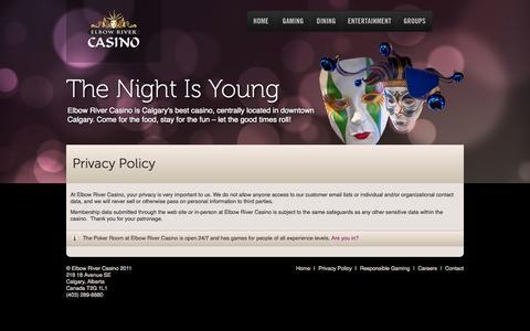 Screenshot of Privacy Page elbowrivercasino.com - Elbow River Casino     Privacy Policy - captured Sept. 29, 2014