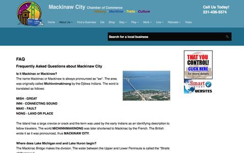 Screenshot of FAQ Page mackinawchamber.com - FAQ - captured Feb. 2, 2016