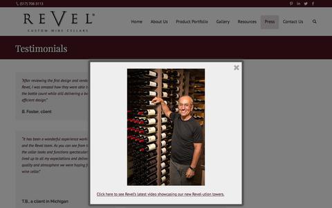 Screenshot of Testimonials Page revelcellars.com - Testimonials | Revel Cellars - captured Dec. 19, 2016