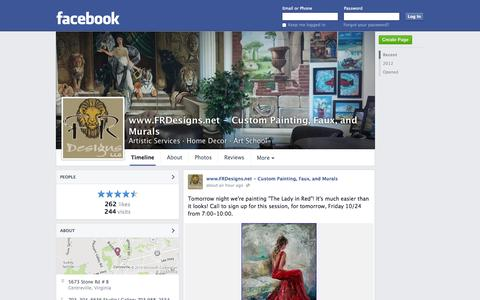 Screenshot of Facebook Page facebook.com - www.FRDesigns.net - Custom Painting, Faux, and Murals - Centreville, VA - Artistic Services, Home Decor | Facebook - captured Oct. 23, 2014