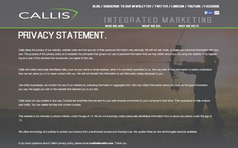 Screenshot of Privacy Page ecallis.com - Privacy | Callis Integrated Marketing | Sedalia, MO - captured Jan. 24, 2016