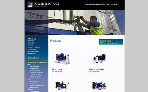 Screenshot of Products Page powerelectrics.com - Diesel Generator Range | Product & Services | Power Electrics - captured Sept. 30, 2014