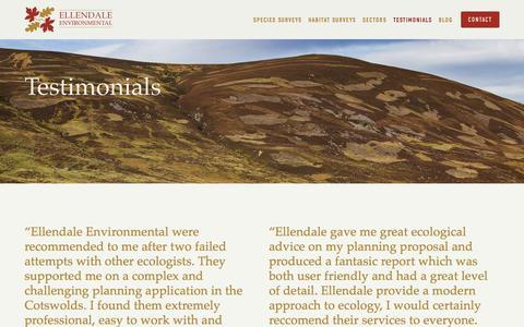 Screenshot of Testimonials Page ellendale-environmental.co.uk - Testimonials — Ellendale Environmental - captured July 30, 2017