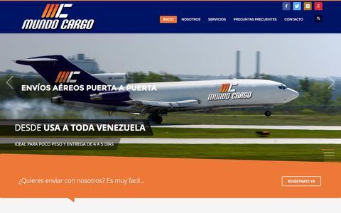 Screenshot of Home Page mundocargo.net - Mundo Cargo - Envios a Venezuela desde USA - captured Jan. 19, 2016