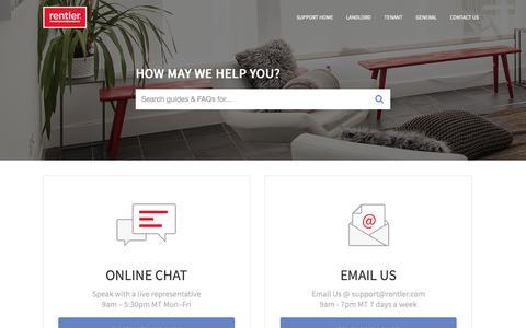 Screenshot of Support Page rentler.com - Rentler Support - captured Oct. 19, 2018