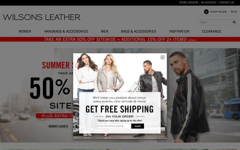Screenshot of Home Page wilsonsleather.com - Wilsons Leather - Men's and Women's Leather Jackets, Leather Coats, Handbags, Hats, Gloves, Wallets, Briefcases and Travel Items                                           - Wilsons Leather - captured July 12, 2018