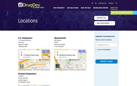 Screenshot of Locations Page drugdev.com - Locations | DrugDev - captured Dec. 5, 2015