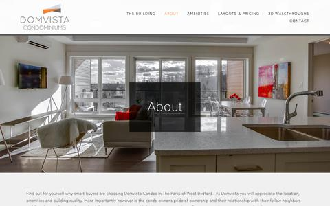 Screenshot of About Page domvista.ca - About —  Domvista Condos in West Bedford-Halifax, Nova Scotia - captured Nov. 14, 2018