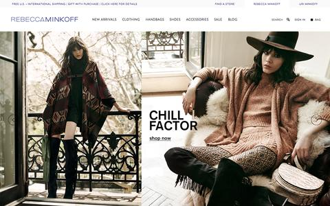 Screenshot of Home Page rebeccaminkoff.com - Rebecca Minkoff Online Store: Handbags, Clothing, Shoes, & Accessories  | Rebecca Minkoff - captured Oct. 2, 2015
