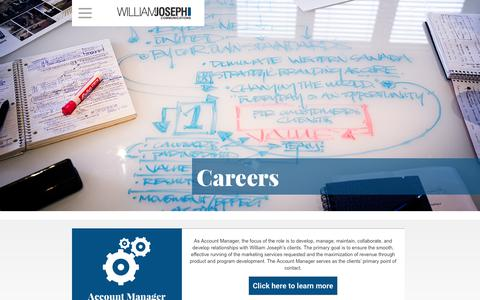 Screenshot of Jobs Page williamjoseph.com - Careers Archive - William Joseph Communications - captured Oct. 21, 2017