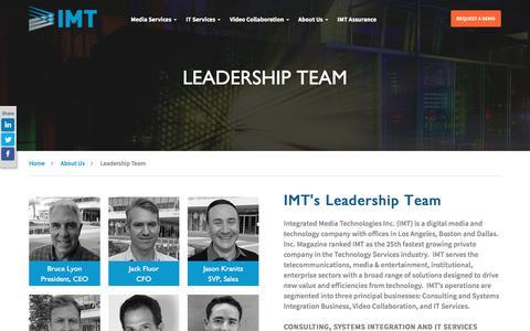Screenshot of Team Page imtglobalinc.com - Leadership Team - IMT - captured Oct. 15, 2017