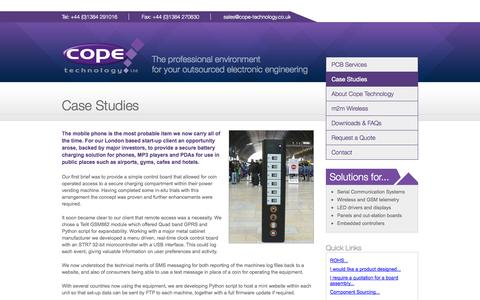 Screenshot of Case Studies Page cope-technology.co.uk - Case Studies - Cope Technology Ltd. - captured Oct. 1, 2014