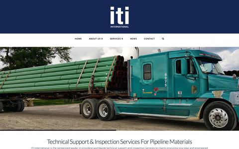 Screenshot of Home Page itiworld.com - ITI International | Technical Support & Inspection Services For Pipeline Materials - captured Oct. 11, 2018