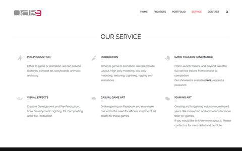 Screenshot of Services Page oak9e.com - Service - OAK9 Entertainment - captured Nov. 1, 2017