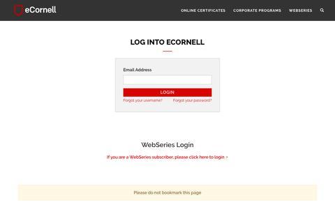 Screenshot of Login Page ecornell.com - eCornell   Log in - captured June 11, 2019