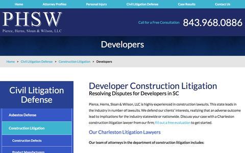 Screenshot of Developers Page phswlaw.com - Developers   Charleston Construction Litigation Lawyer - captured Nov. 6, 2016