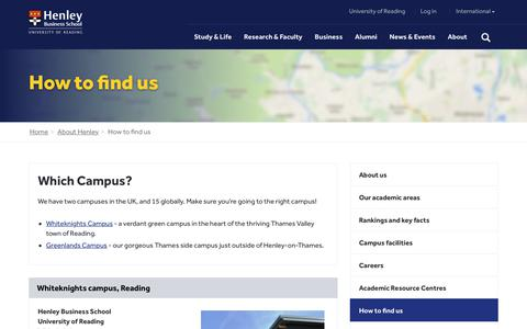 Screenshot of Contact Page Maps & Directions Page henley.ac.uk - How to find us | Henley Business School - captured Sept. 24, 2018