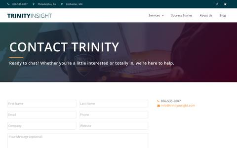 Screenshot of Contact Page trinityinsight.com - Contact Us - Trinity Insight - captured June 21, 2019