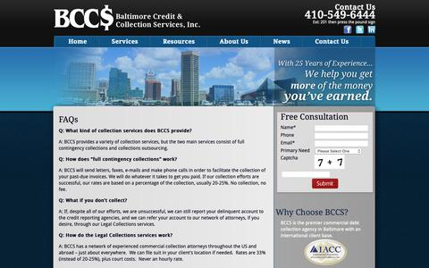 Screenshot of FAQ Page bccs2.com - Baltimore Credit and Collection Service FAQ | BCCS - captured Oct. 5, 2018