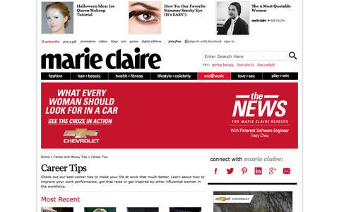 Screenshot of Jobs Page marieclaire.com - Career Tips - Career Advice for Women   - Marie Claire - captured Sept. 18, 2014