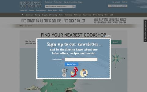 Screenshot of Locations Page steamer.co.uk - Cookshop Finder | Store Locator | Steamer Trading - captured Feb. 16, 2016
