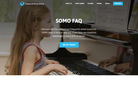 Screenshot of FAQ Page schoolofmusiconline.com - School of Music Online | About Us - captured Oct. 28, 2014