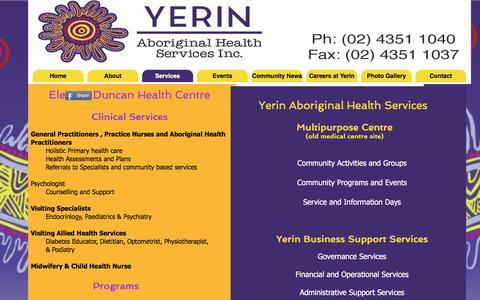 Screenshot of Services Page yerin.org.au - Yerin Aboriginal Health Services - captured Sept. 29, 2016