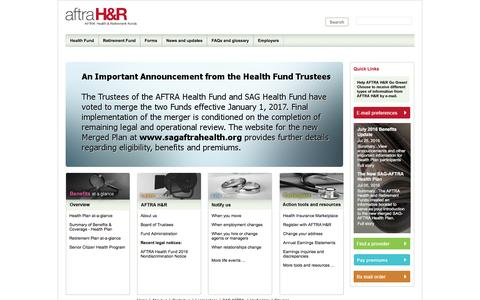 Screenshot of Home Page aftrahr.com - The AFTRA Health & Retirement Funds - captured Nov. 19, 2016
