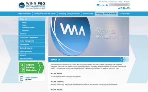 Screenshot of About Page waa.ca - About Us | Winnipeg James Armstrong Richardson International Airport - captured Feb. 15, 2016