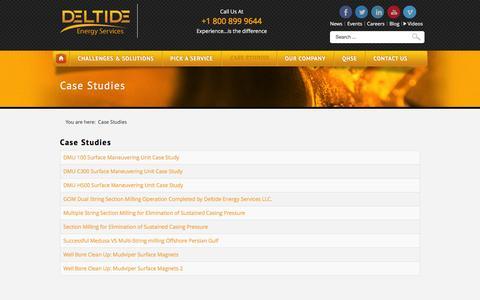 Screenshot of Case Studies Page deltide.com - Case Studies - captured Feb. 9, 2016