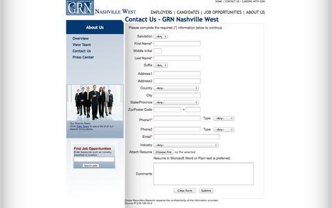 Screenshot of Contact Page grnnashvillewest.com - GRN - Global Recruiters of Nashville West - captured Oct. 3, 2014