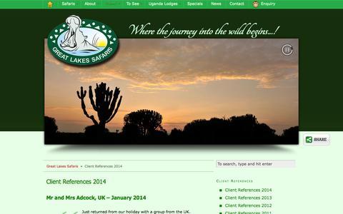 Screenshot of Testimonials Page safari-uganda.com - Uganda Lodges guests and client recommendations | Great Lakes Safaris - captured Sept. 24, 2014