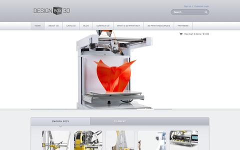 Screenshot of Home Page designbox3d.com - Designbox3d Ń Professional Desktop 3D Printers from TypeAMachines, MassPortal & more - captured Jan. 7, 2016