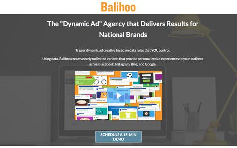 """Screenshot of Landing Page balihoo.com - The """"Dynamic Ad"""" Agency that Delivers Results. - captured Sept. 21, 2018"""