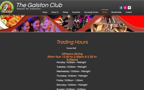 Screenshot of Hours Page galstonclub.com.au - Hours | The Galston Club - captured Oct. 20, 2018
