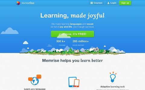 Screenshot of Home Page memrise.com - Learning, made joyful - Memrise - captured June 16, 2015